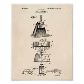 Broom Attachment 1903 Patent Art Old Peper Poster