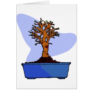 Broom Bonsai Trimmed Blue Pot Graphic Image Card