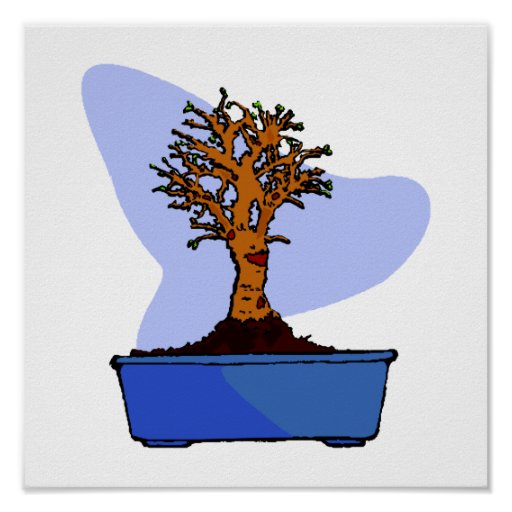 Broom Bonsai Trimmed Blue Pot Graphic Image Poster