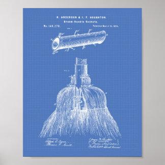 Broom Handle Sockets 1874 Patent Art Blueprint Poster