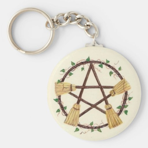 Broom Pentagam with Ivy Key Chains