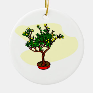 Broom style flowering bonsai graphic Double-Sided ceramic round christmas ornament