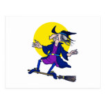 Broom Surfer Witch Post Card