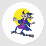 Broom Surfer Witch Stickers