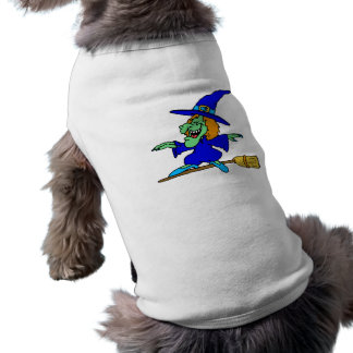 Broom Surfing Witch Dog T-shirt