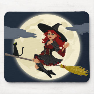 Broom Witch with cat Mouse Pad