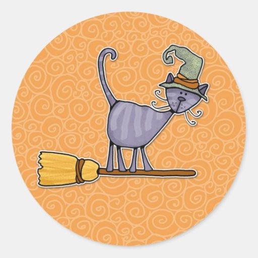broomstick kitty classic round sticker