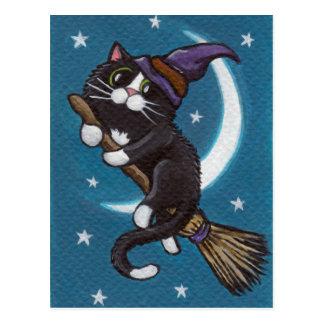 Broomstick Ride - Halloween Postcard