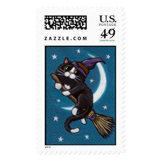 Broomstick Ride Halloween Tuxedo Cat Stamp