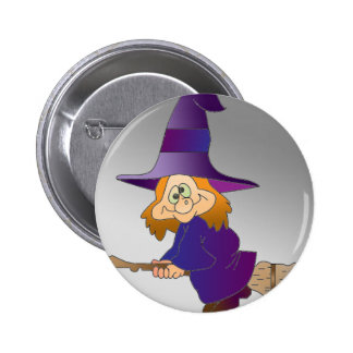 Broomstick Witch 2 Inch Round Button