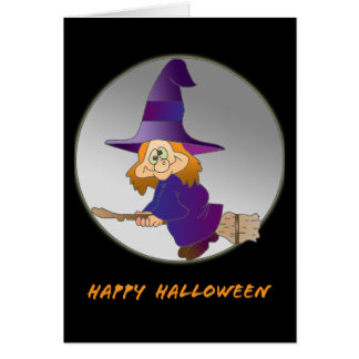 Broomstick Witch Card