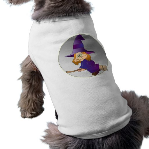 Broomstick Witch Dog T Shirt