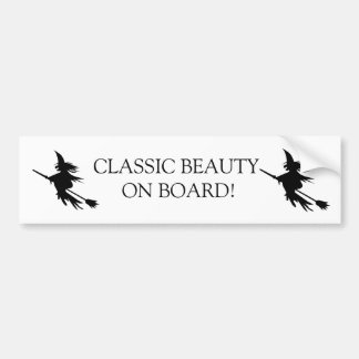 Broomstick Witch Halloween | Funny Beauty on Board Bumper Sticker