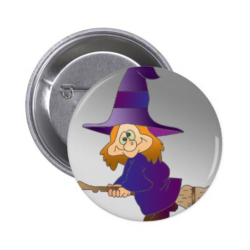 Broomstick Witch Pinback Button