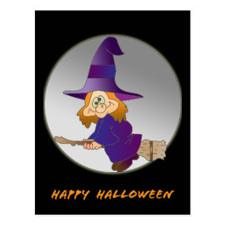 Broomstick Witch Postcard