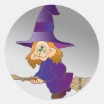 Broomstick Witch Round Sticker