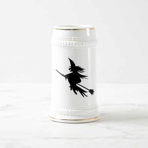 Broomstick Witch Silhouette 18 Oz Beer Stein