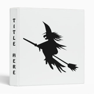 Broomstick Witch Silhouette 3 Ring Binder
