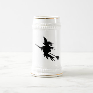 Broomstick Witch Silhouette Beer Stein