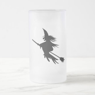 Broomstick Witch Silhouette Frosted Glass Beer Mug