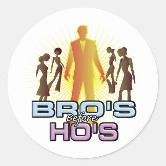 Bro's Before Ho's Classic Round Sticker