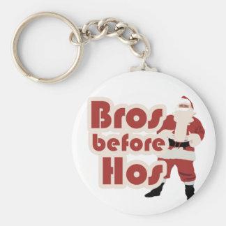 Bros Before Hos Santa Basic Round Button Keychain
