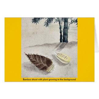Brote de bambú con la planta que crece en el fondo tarjeta de felicitación
