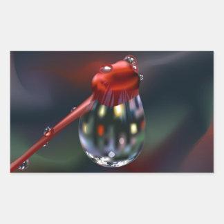 Brote de flor con descenso del agua pegatina rectangular