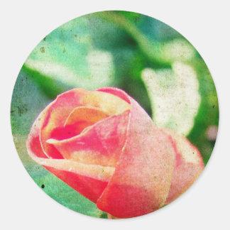 Brote de flor pegatina redonda