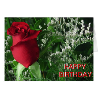 Brote del rosa rojo del cumpleaños tarjeton