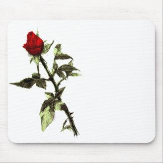 Brote del rosa rojo dibujado a lápiz tapete de ratón