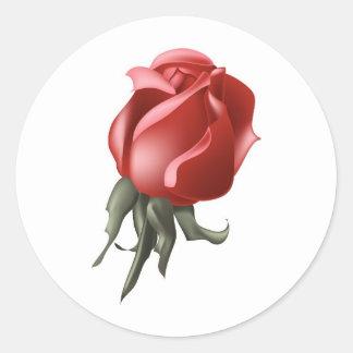 Brote del rosa rojo etiqueta redonda