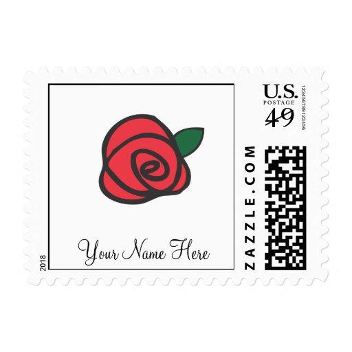 Brote del rosa rojo sello