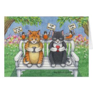 Brote y Tony Notecard del cumpleaños de los gatos Tarjeta De Felicitación