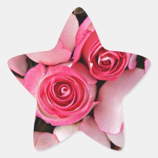 Brotes color de rosa rosados pegatina en forma de estrella