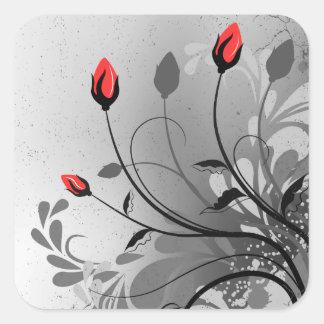 Brotes de flor rojos pegatina cuadrada
