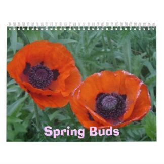 Brotes de la primavera calendarios de pared