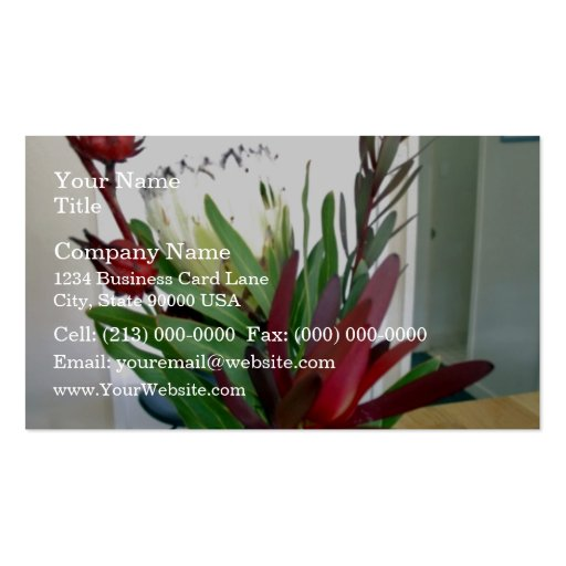 Brotes rojos y flores blancas tarjeta de visita