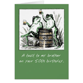 Brother, 50th Birthday, Frogs with Beer Card
