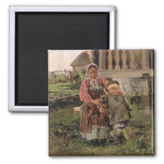 Brother and Sister, 1880 2 Inch Square Magnet