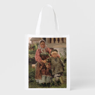 Brother and Sister, 1880 Reusable Grocery Bag
