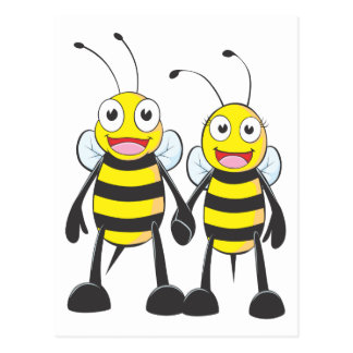 Brother and Sister Bee Happy Together Postcard