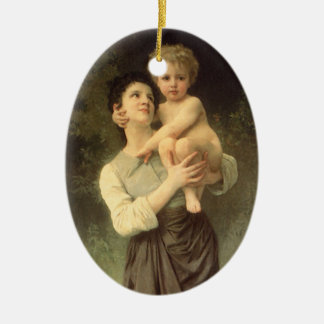 Brother and Sister Bouguereau Vintage Victorian Ornaments