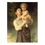 Brother and Sister, Bouguereau, Vintage Victorian Postcard