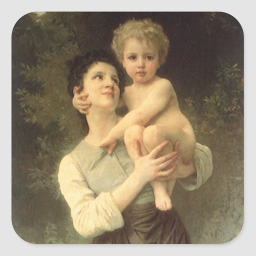 Brother and Sister, Bouguereau, Vintage Victorian Stickers