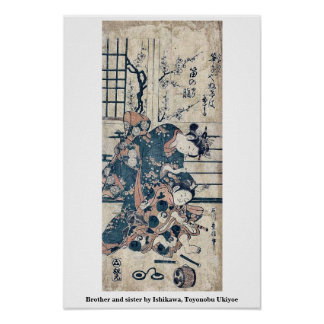 Brother and sister by Ishikawa, Toyonobu Ukiyoe Poster