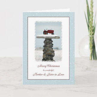 Brother and Sister in Law Christmas Tractor Holiday Card