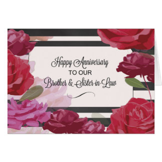 Brother and Sister-in-Law Wedding Anniversary Rose Card