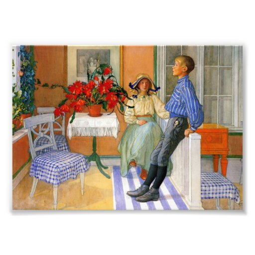 Brother and Sister in the Sunroom 1911 Photo Print