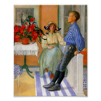 Brother and Sister in the Sunroom 1911 Poster